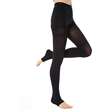 ee32a501d8 KoolFree Women Microfiber Medical Grade Graduated Compression Pantyhose  Stockings Tights, Open Toe, 23-