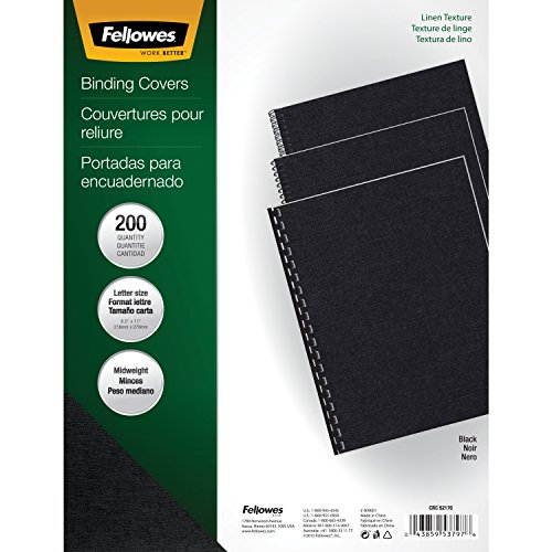 Fellowes Binding Linen Presentation Covers, Letter, Black, 200 Pack (5217001) - Poly Binding Covers