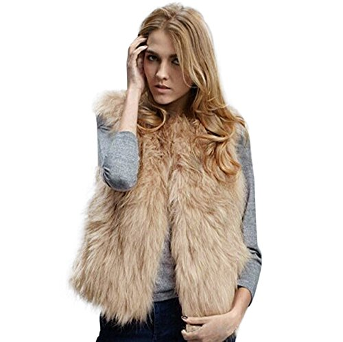 Womens Shaggy Faux Fur Waistcoat Vest Gilet Outwear Short Warm Coat Jacket Cardigan (L,Khaki)]()