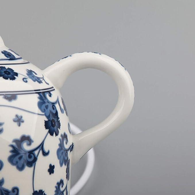 IDJ Tetera perfumada tetera de t/é de porcelana para alivio de orqu/ídea cl/ásica azul y blanco
