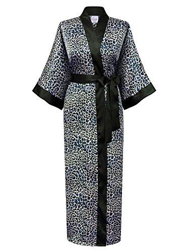 Swhiteme Women's Kimono Robe, Long, One Size, Leopard, Sapphire, KPL01