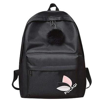 Zibuyu Simple Women Girls Canvas Backpacks Travel Shoulder School Handbags  (Black)  Amazon.in  Bags, Wallets   Luggage d55b032ef1