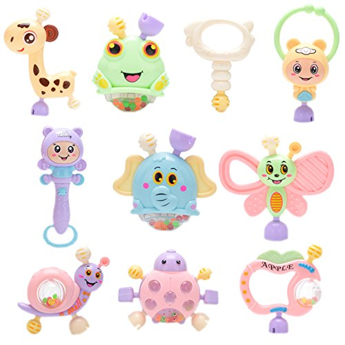 Finger Mouth Whistle - Biowow Baby Rattles and Teethers Infant Musical Toy Cartoon Teether Newborn Toy Gift Set,Toddler Boy and Girl Educational Play Toy