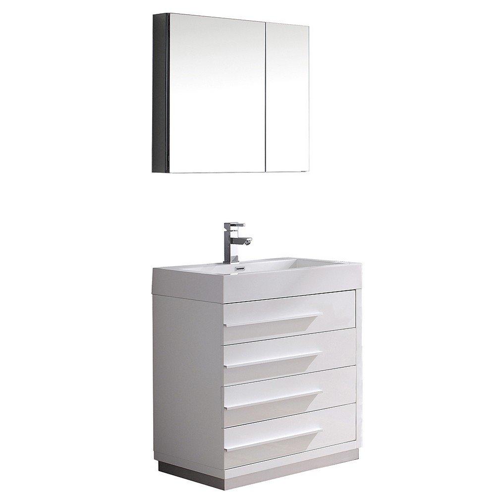 Fresca livello 24 inch black bathroom - Fresca Bath Fvn8030wh Livello 30 Vanity With Medicine Cabinet White Amazon Com