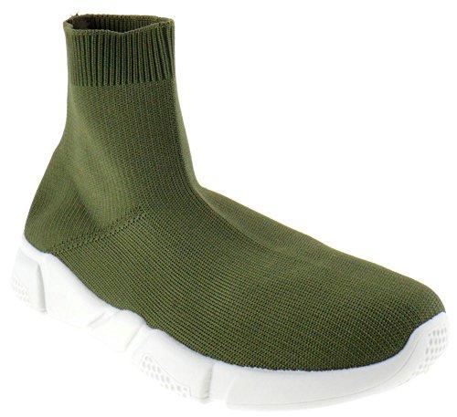 Stuoia Di Bambù 01s Da Donna Tessuto Elastico In Maglia Hightop Sneaker Oliva