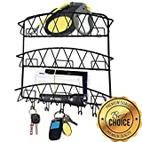 Best Deals In Town Now Mail Organizer Wall Mount   Vertical Decorative Hanging Letter And Bill Holder Rack With Key Hooks For Home, Kitchen, Office   Black