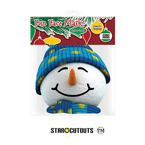Star Cutouts Printed Card Mask of Snowman Mask