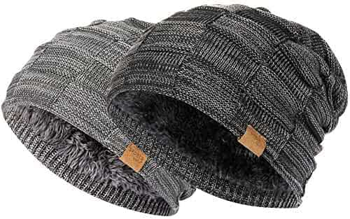 90fb537c5293c Vgogfly Slouchy Beanie for Men Winter Hats for Guys Cool Beanies Mens Lined  Knit Warm Thick