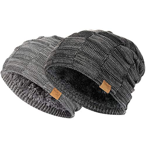 81c91809e15 Vgogfly Slouchy Beanie for Men Winter Hats for Guys Cool Beanies Mens Lined  Knit Warm Thick