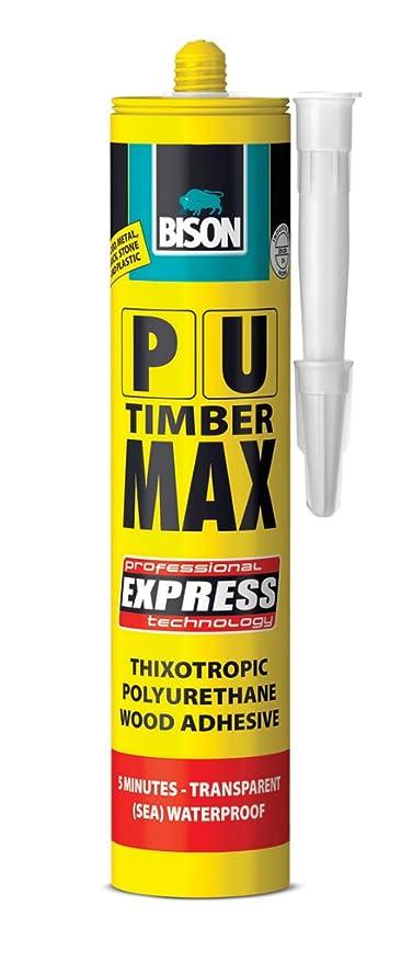12 x Bison PU poliuretano madera Max Express madera pegamento adhesivo transparente C20