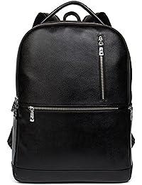 Leather Laptop Backpack Shoulder School Camping Travel Casual Bag Daypack for Men