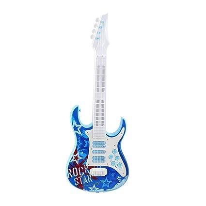 AOLVO Guitarra eléctrica con Luces LED 4 Cuerdas Guitarra eléctrica música niños los niños Instrumentos Musicales