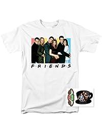 Friends TV Show Central Perk & Cast Logo Adult T Shirt & Exclusive Stickers