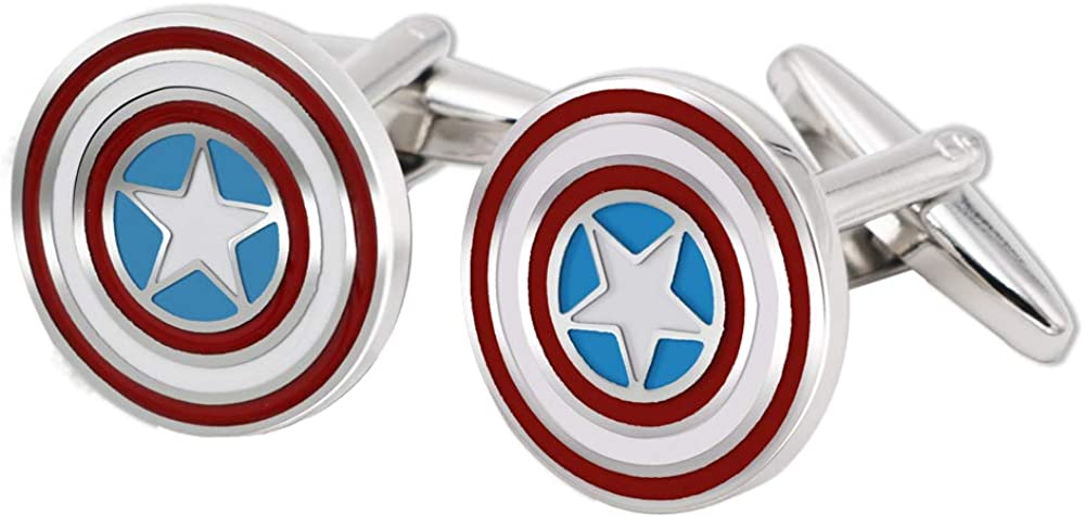 BXLE Captain America Cufflinks in Hand Made, Marvel's The Avengers Cuff Button, Iconic Patriotic Shield, The American Hero Jewelry with Jewelry Box