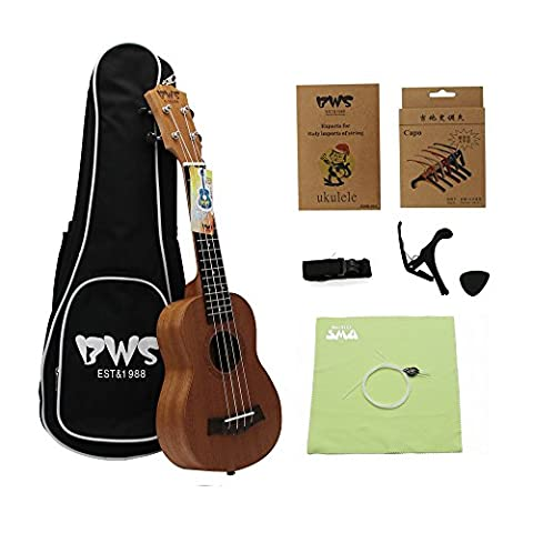 BWS Classic Soprano 21 inch Solid Mahogany Handmade Ukulele Starter Kit With Gig bag, Strap, Nylon String, Picks,Poling Cloth,Capo, Best Gift for Beginner, Student, Children, (Children Banjo)