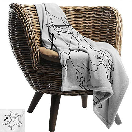 (EwaskyOnline Zodiac Sagittarius Blanket Monochrome Centaur Doodle with Bow and Arrow Astrology Themed Image Sofa Warm Bed 91