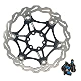 DEERU Stainless Steel Bicycle Brake Disc Rotor 160/180MM MTB Bike Rotor 6-Bolt Disc Rotor - 1 pc, Bolts Included (180mm-Black)