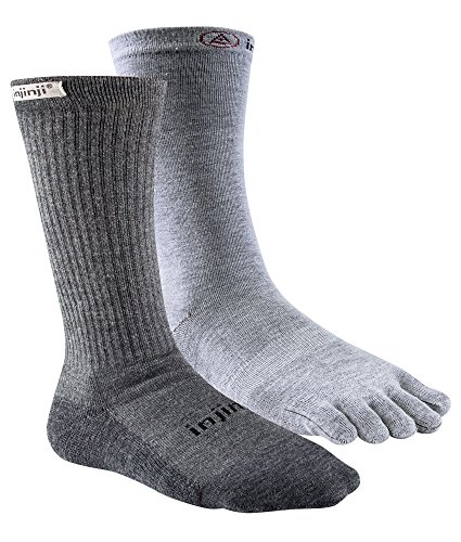 Injinji Men's Liner + Hiker Crew Socks (Large/X-Large, Charcoal) ()