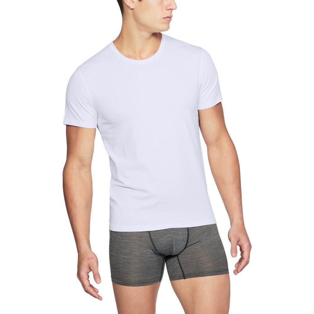Under Armour Men's Charged Cotton Crew Under Shirt, White (100)/Elemental, XXXXX-Large