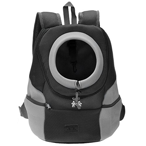 Mogoko Airline Approved Cat Dog Backpack, Puppy Pet Carrier Front Bag with Breathable Head Out Design and Double Mesh Padded Shoulder for Outdoor Travel Hiking (L, Black)