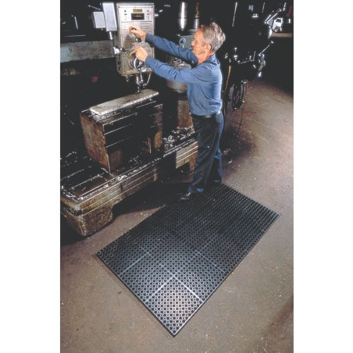 Wearwell 477.78x2x3GRBK WorkSafe Heavy Duty Anti-Fatigue Mat, for Wet Areas, 2' x 3' x 7/8'' Thickness, Black