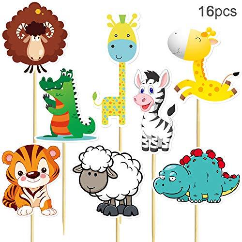 Woodland Safari Animal Cupcake Toppers For Giraffe Tiger Zebra Sheep Crocodile Dinosaur Shaped Cupcake Toppers by Shxstore