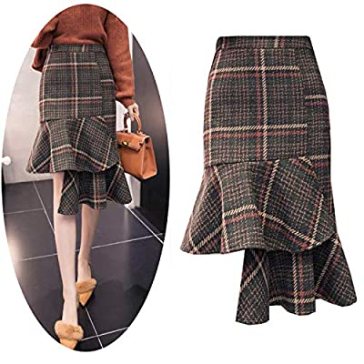 Autumn Winter Plaid Skirts Women High Waist Asymmetrical Ruffles Wool Skirt