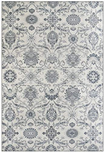 Maples Rugs Blooming Damask Large Area Rugs Carpet for Living Room Bedroom Made in USA , 7 x 10, Grey Blue