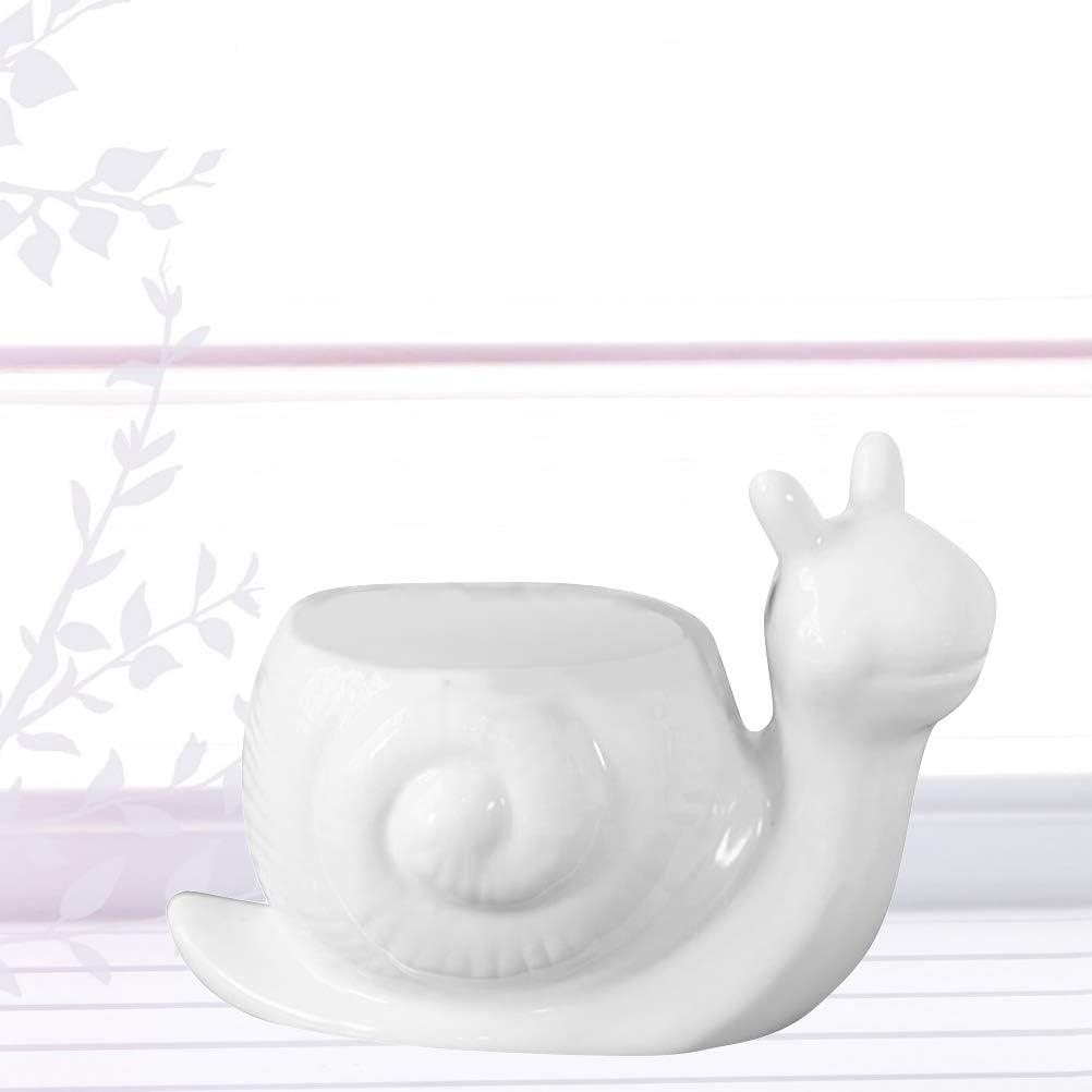 Yardwe Cute Ceramics Succulent Cactus Flower Pot Mini Snail Shape ...