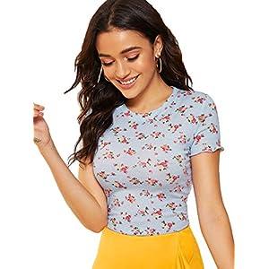 SweatyRocks Women's Floral Print Short Sleeve Crew Neck Slim Fit T-Shirt Tee Top Blue XS