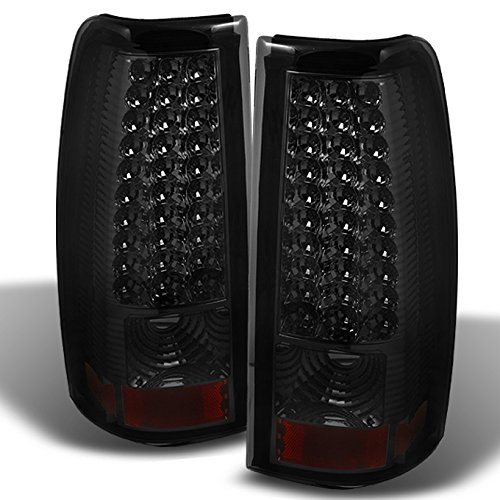 (For 03-06 Chevy Silverado 04-06 GMC Sierra Pickup Truck SMoke LED Tail Lights Brake Lamps Replacement)