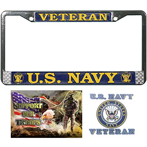 (Mitchell Proffitt United States Navy Veteran License Plate Frame with US Navy Veteran Decal/Sticker and Support Our Troops Sticker/Decal)