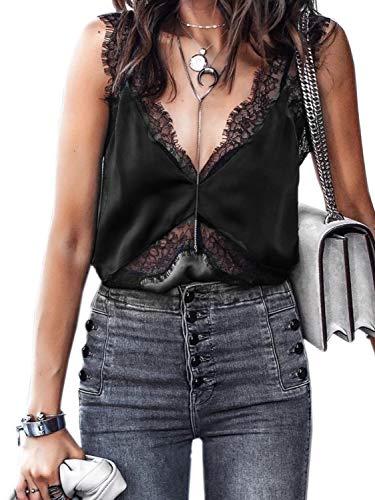 SUNJIN ARCO Women's Sexy Silk Tank Top Lace V Neck Loose Sleeveless Blouse Satin Cami Shirt (Black,2)