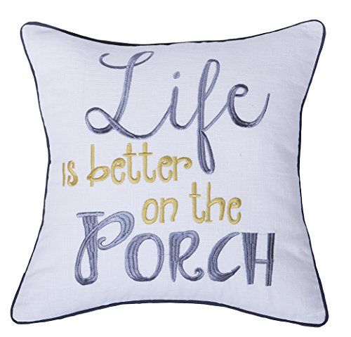 Newport Nautical Throw (YugTex Pillowcases Life is better on the Porch Embroidered Throw Pillow Cover for Beach Lover housewarming gift Cushion cover throw cushion beach gift nautical Gifts (18