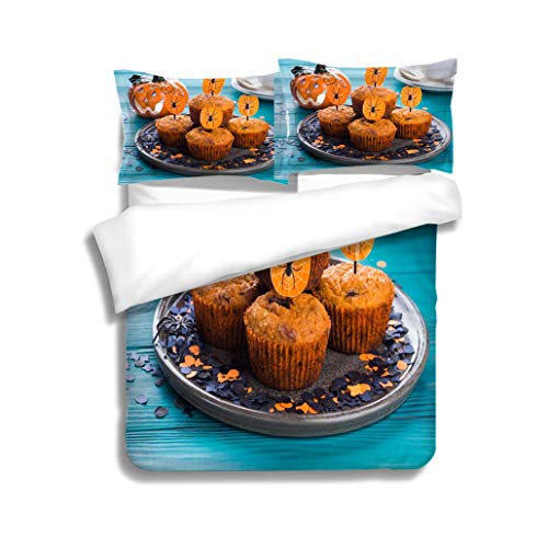 MTSJTliangwan Family Bed Pumpkin Muffins for Halloween Kids Party 3 Piece Bedding Set with Pillow Shams, Queen/Full, Dark Orange White Teal -