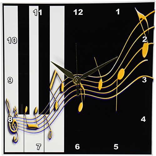 3dRose Beverly Turner Photography Gold Music Notes on Piano Keys Wall Clock, 10 by 10-Inch