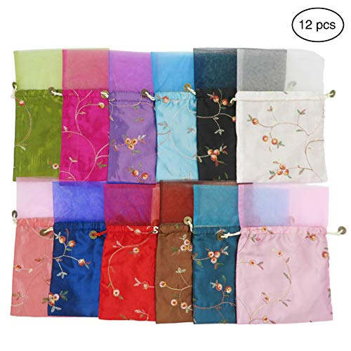 Ouyatoyu 12Pcs Brocade Organza Jewelry Pouch Bags, Samples Display Favor Bags for Wedding Drawstring Gift Bags 9.1x6.3 inches(12pcs Random Color)