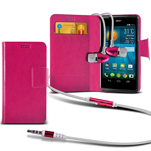 ( Hot Pink + Earphone ) Acer Liquid Z500 Protective Stylish Fitted Super Thin Faux Leather Suction Pad Wallet Case Cover Skin With Credit/Debit Card Slots With Premium Quality in Ear Buds Stereo Hands Free Headphones Headset with Built in Microphone Mic and On-Off Button by ONX3