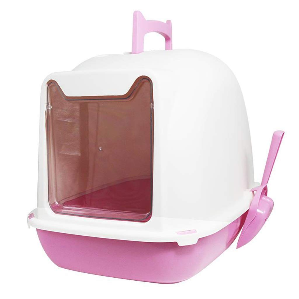 LZRZBH Pet Cat Toilet, Cat Litter Basin Prevent Splashing Out of Plastic Potty, Fully Enclosed Toilet Training Mat Cat Hooded Litter Tray Non Slip Toilet (Color : Pink, Size : 55x42x43m) by LZRZBH