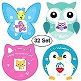 Kids Valentines Cards de AOSTAR, 32 Set Cards, Tattoos (Kitten, Bee, Penguin and Owl) y sobre para niñas y niños