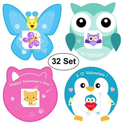 AOSTAR Kids Valentines Cards, 32 Set Cards, Tattoos (Kitten, Bee, Penguin and Owl) and Envelope for Girls and Boys ()