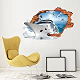 Large Blue Sky 3D Self-adhesive Removable Break Through the Wall Vinyl Wall Sticker/Mural Art Decals Decorator (Top Ship VC1002 ( 50 x 70cm))