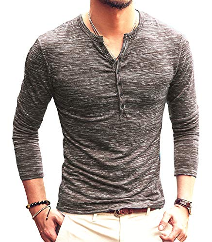 - 51hUZ8lnDuL - PERDONTOO Men's Casual Slim Fit Long Sleeve Henley T-Shirts Cotton Shirts