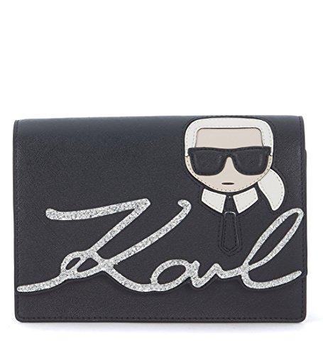 Borsa a tracolla Karl Lagerfeld Ikonik con glitter e stampa ricamata