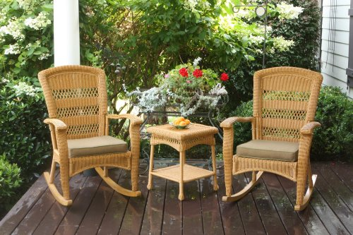Tortuga Outdoor Portside Plantation 3pc Rocking Chair Set – White, Dark Roast and Amber Wicker with Cushions Amber