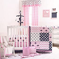 Nautical Whales and Anchors Pink 5 Piece Crib Bedding Set for girls by The Peanut Shell