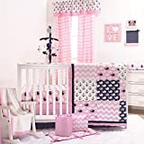 Nautical Whales and Anchors Pink 5 Piece Crib Bedding Set by The Peanut Shell
