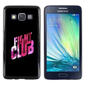 FECELL CITY // Duro Aluminio Pegatina PC Caso decorativo Funda Carcasa de Protección para Samsung Galaxy A3 SM-A300 // Fight Club Quote Slogan Pink Bling