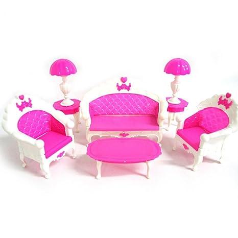 style moderne achat spécial design intemporel GOOD01, accessori mini per casa di Barbie, accessori, mobili, divano,  lampada da tavolo, colore rosa