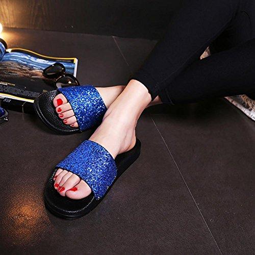 PU für Leder Lucky Schuhe 40 Damen Frauen Sommer Blau GIRL BZvwqgE0